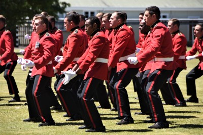 an image of Officer cadets performing a haka