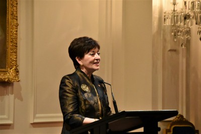 an image of Dame Patsy welcoming guests to the Arts Patron Dinner