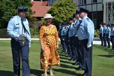 an image of HE Mrs Elizabeth Foster Wright-Koteka inspecting the guard
