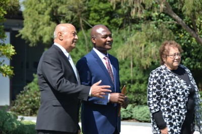 an image of HE Mr Frank Francis Bwalya, High Commissioner of the Republic of Zambia and Professor Piri Sciascia