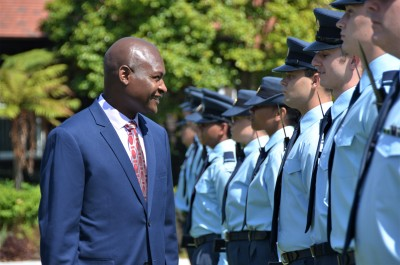 an image of HE Mr Frank Francis Bwalya inspecting the Guard of Honour