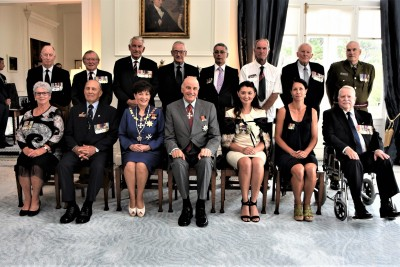 Their Excellencies with the recipients of Mentioned in Despatches Awards