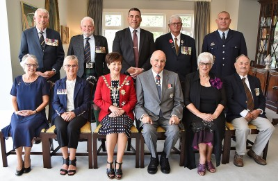 Image of MID recipients and representatives with Dame Patsy and Sir David