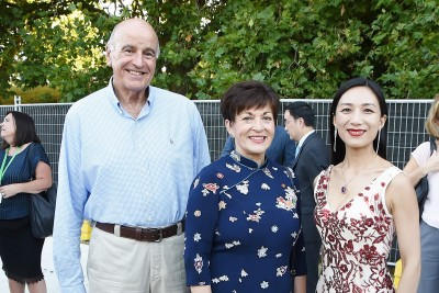 Image of Dame Patsy and Sir David with MC, Rachel Qi