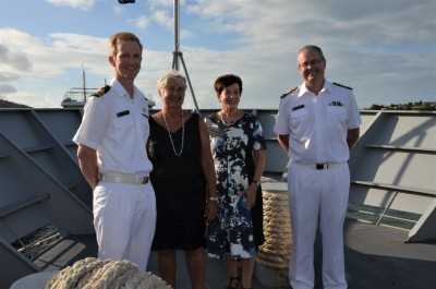 an image of Lieutenant Commander TImothy Hall, Dame Sian Elias, Dame Patsy and Rear Admiral David Proctor