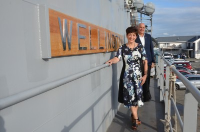 an image of Dame Patsy and SIr David on HMNZS Wellington