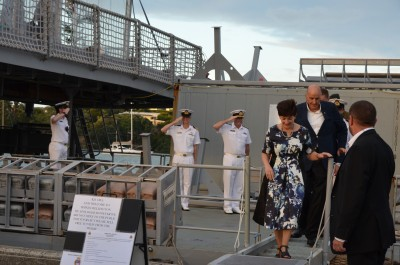 an image of Dame Patsy and Sir David disembarking from HMNZS Wellington