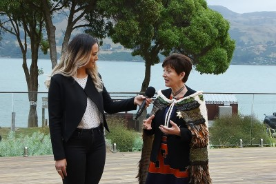 Image of Dame Patsy being interviewed by Hinepounamu Porter for the Ngai Tahu live stream