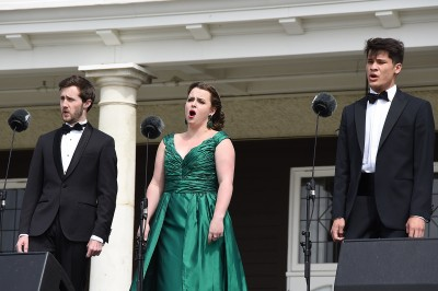 Image of NZ Opera Dame Malvina Major Emerging Artists Angus Simmons, Pasquale Orchard and Will King.