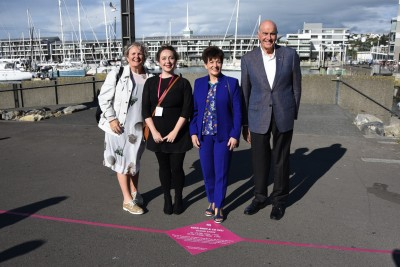 Dame Patsy, Sir David, Assistant Producer Rachel Fox and Arcade NZ Live Art Trust Chair, Jacqui Nelson