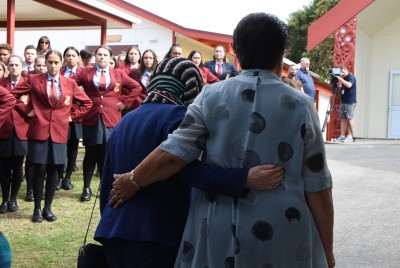 Dame Patsy is welcomed onto the marae at  Kapiti College