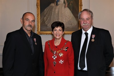 Dame Patsy with Mr Pete Dixon and Mr Pete Donaldson, honoured for service to the Coastguard
