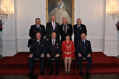 Their Excellencies with Honours recipients from the Fire Service