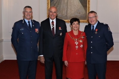 Their Excellencies with Commissioner Mike Bush and Sergeant Arthur Harris MNZM