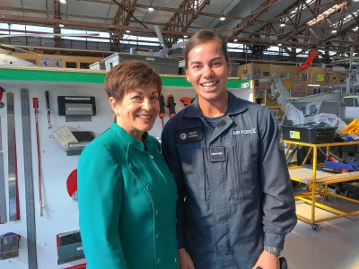 Image of Dame Patsy with NZDF Sportsperson of the Year, Hayley Hutana