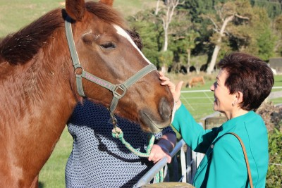 Image of Dame Patsy patting one of the horses at WRDA