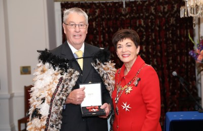 Image of David Salter collecting the insignia of a MNZM on behalf of the late Mrs Georgina Salter,of Oamaru, MNZM, for services to netball