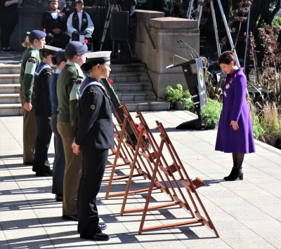 Dame Patsy placed her wreath and paid her respects
