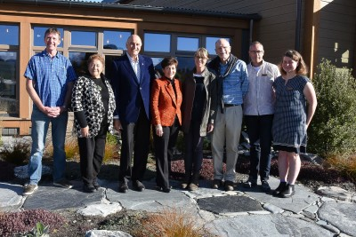 Image of Dame Patsy and Sir David with the team at Camp Glenorchy