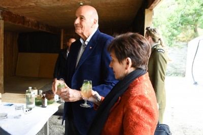Image of Dame Patsy and Sir David sampling a pine oil infused soda