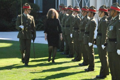 Image of Ambassador of the Republic of Croatia  HE Betty Pavelich Sirois inspecting the Guard of Honour
