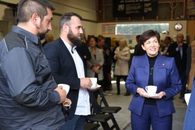 Image of Dame Patsy meeting some of the Shotover Jet team