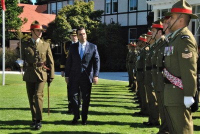 Mr Antonio Pedro da Vinha Rodrigues da Silva inspecting the Guard of Honour