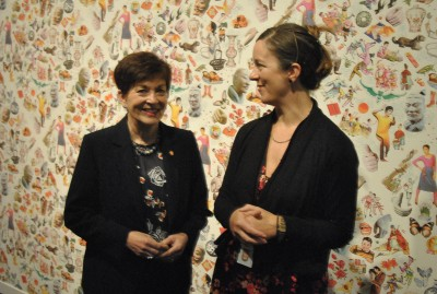 Image of Dame Patsy and Dr Rebecca Rice viewing 'Return to Skyland' - an art installation by Kerry Ann Lee