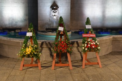 Image of wreaths laid by the Australian High Commissioner, Dame Patsy and the Turkish Ambassador