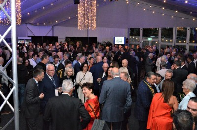 Their Excellencies and other guests in the marquee at Auckland Grammar