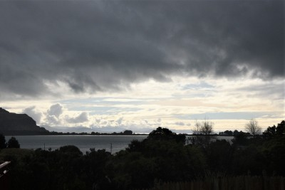 Looking from the marae across the harbour to Aramoana and beyond