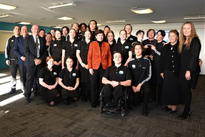 Dame Patsy with Kings High and Queens High students who performed waiata