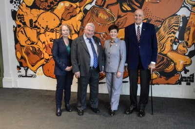 Image of Dame Patsy and Sir David with Michael McEvedy, Canterbury Museum Trust Board, Chair and Jennifer Storer, Canterbury Museum, Deputy Director.