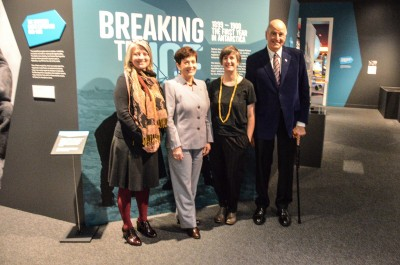 Image of Dame Patsy and Sir David with Jill Haley, Canterbury Museum Curator Human History and Lizzie Meek, Antarctic Heritage Trust, Programme Manager – Artefacts. Lizzie Meek, Antar