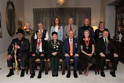 Their Excellencies with the Honours recipients of 21 May 2019 AM ceremony