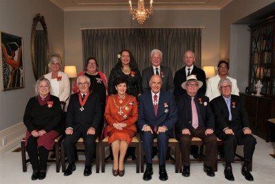 Their Excellencies with the ten recipients of the 20 May 2019 investiture ceremony
