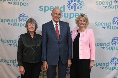Image of Sir David with Spend My Super founder Liz Grieve and CEO Sarah Trotman