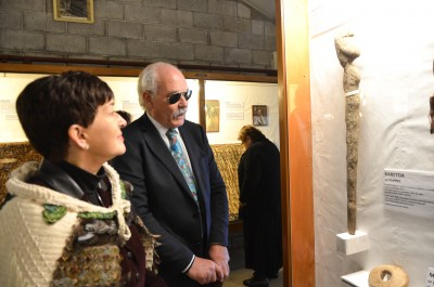 Dame Patsy and Ian Day, Museum Manager and a 15th Century God stick