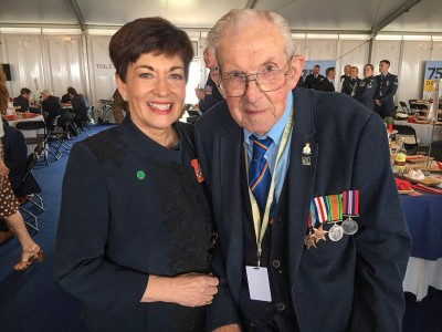 Image of Dame Patsy with a D-Day veteran at the veteran's lunch