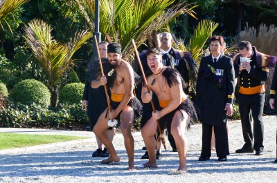 Image of a challenge from the warriors of the RNZN Maori cultural group