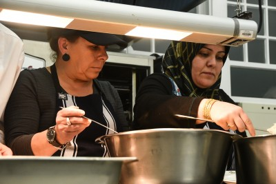 Image of guest chefs Veronica Montane from Chile and Hajar Masraeh from Iran