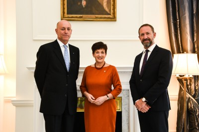 Dame Patsy and Hon Andrew Little with HE Mr Mark Holowesko, High Commissioner of the Commonwealth of the Bahamas