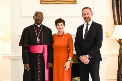Dame Patsy and Hon Andrew Little with HE Archbishop Novatus Rugambwa