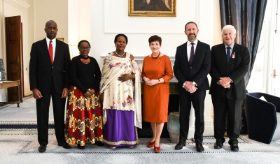 Dame Patsy, Hon Andrew Little, the High Commissioner of the Republic of Uganda and officials