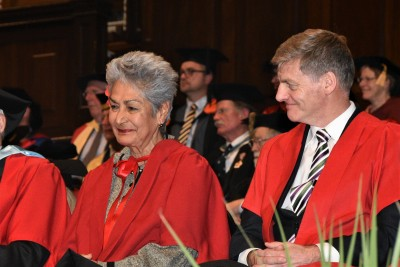 Dr Viopapa Annandale-Atherton and Sir Bill English, both Honorary Doctors of Law