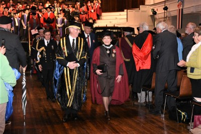 Dame Patsy and Chancellor Dr Royden Sommerville leading the procession