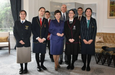 Dame Patsy and Sir David with this year's winners of Pukaki Awards