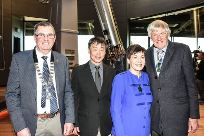Image of Dame Patsy with Dark Sky Project co-founders Graeme Murray and Hide Ozawa along with McKenzie District Mayor Graham Smith