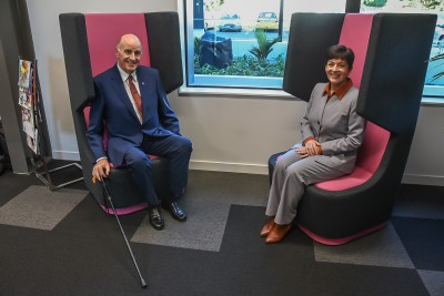 Image of Dame Patsy and Sir David in the pods