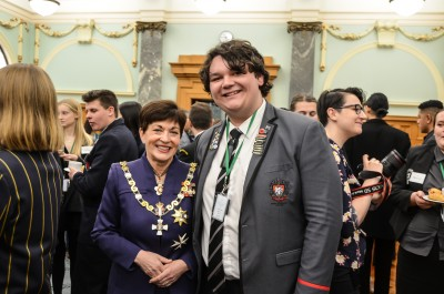 Image of Dame Patsy with Youth MP Samuel Taylor